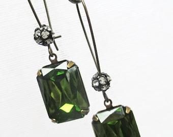Art Deco Dangle Earrings Victorian Jewelry Olive Green Earrings Downton Abbey MADELINE Olive
