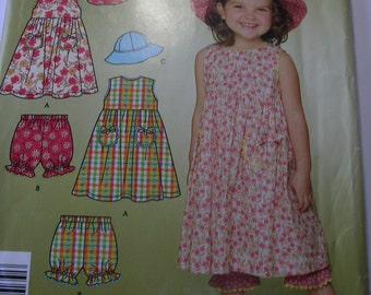 Toddler Dress,Panties Hat Pattern,Simplicy Pattern 4262 Size 6 mo - 4year,Complete Uncut Pattern