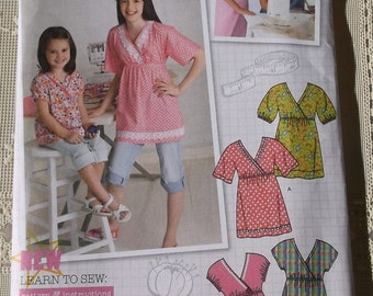 Girls Pullover Top Pattern Size 3-6,Simplicity 2437 Childrens Top Pattern Uncut -Learn to Sew Pattern