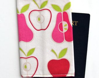 Passport Cover - Pink Apples and Pears Alexander Henry