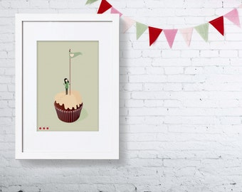On the summit of the Cupcake Print 5x7 - girl in greens climbing a mountain muffin