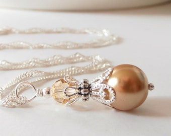 Gold Pearl Bridesmaid Necklaces
