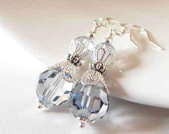 Pale Blue Earrings, Crystal Bridesmaid Jewelry, Swarovski Elements Faceted Dangles in Silver, Winter Wedding Sets, Handmade Bridal Jewellery