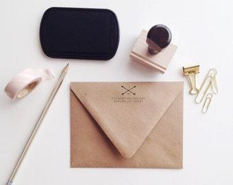 Arrow + Initials Address Stamp