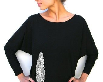 Womens Long Sleeve Shirt - Feather - Bella Flow Jersey Dolman Top -  Small, Medium, Large, xl, 2xl
