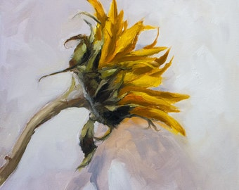 Orange, Yellow, Sunflower, Brown, Umber, Green Leaves, Still Life, Painterly, Original Painting by Clair Hartmann
