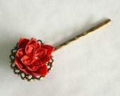 Vintage Style Red Flower Bobby Pin, Hair pin, Origami Flower, Romantic, Chic, Bridesmaid Gift