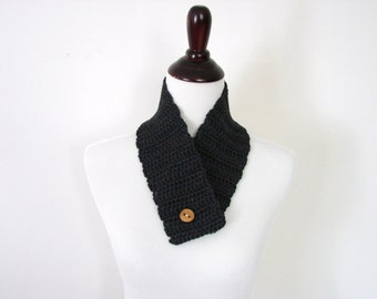 Winter Cowl, Charcoal Circle Scarf, Button Cowl, Crochet Neckwarmer, Scarflette, Teen, Adult - MADE TO ORDER