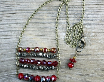 Crystal Necklace, Ladder Chain Necklace, Crystal Jewelry, Pyrite Jewelry, Brass Chain Necklace, Red Necklace, Pyrite Necklace