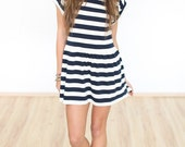 "Navy style summer Dress ""Sara"" - blue cream striped"