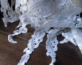 Guipure Lace in WHITE made in USA for Bridal, Bodices, Skirts, Jewelry Design