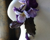 Velvet Millinery Pansies in Royal Purple for Bridal, Headbands, Boutonnieres, Hats, Costumes MF205