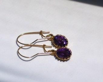 Amethyst 14K Gold Vintage Drop Earrings