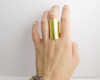 Tall Brass Finger Shield Ring. Chunky Ring. Statement Ring. Gold Metal. Glam. Chic. Boho.