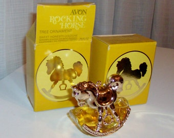 NEW Rocking Horse Tree Ornament With Sweet Honesty Cologne by Avon (code d)