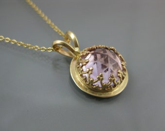 14k gold necklace with pink amethyst, pink necklace, lavender pink gemstone, amethyst pendant, gold pendant, eco-friendly jewelry