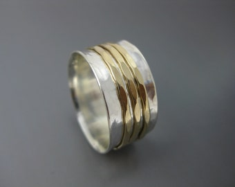 spinner ring with silver band and solid 14k gold spinners, meditation ring, silver and gold ring, fidget ring, wedding band, eco-friendly