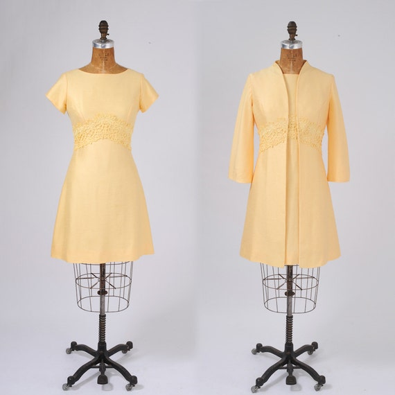 1960's Yellow Dress Coat Vintage Two Piece Set: Spring Easter Day Dress