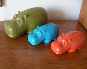 Vintage Henri Hippo Hippopotamus Coin Money Bank Set of 3 Mid Century Modern 60s Orange, Green, Turquoise