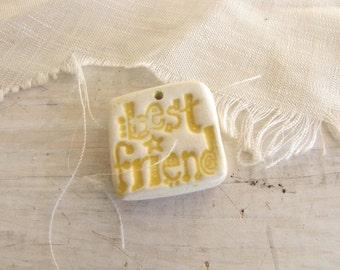 Ceramic Shard Pendant Best Friend Pottery Shard Yellow Jewelry Art Supply #159