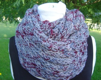 Maroon Gray Long Circle Scarf Cowl - Double Knit OOAK by an EtsyMom