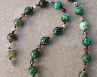 Woodland Green & Brown Fire Agate with Wood Necklace