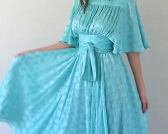 Vintage 80's SILK Pale Turquoise Amazing-est Dress Size S