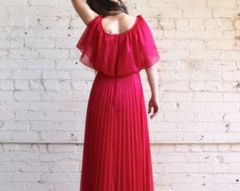 sale -- Vintage 70's Flutter Sleeve Bright Pink MAXI Dress Size S
