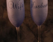 Marriage Glasses Blue Champagne Flutes