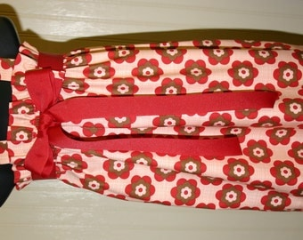 Mod Zadee Dress.. Peach, Red and Brown Dress...Girls Retro print Jumper