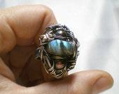 Large Labradorite Ring - Sterling Silver Wirewrapped