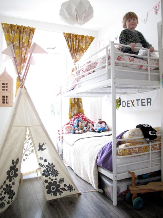 Kids Teepee tent - grey print NO POLES