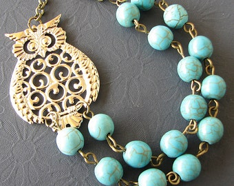 Owl Jewelry Owl Necklace Bib Necklace Turquoise Jewelry Whimsical Beaded Necklace Fall Fashion