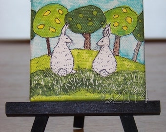 Rabbit Friends, Original Mini Painting, Art, Room Decor