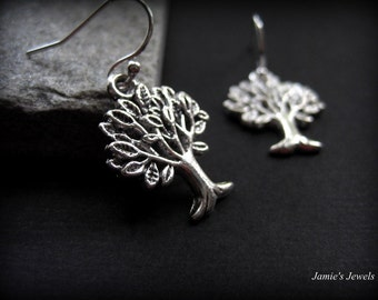 Tree Earrings - Silver Tree Earrings - Everyday Silver Earrings - Rustic Silver Earrings -  Woodland Forest Earrings -