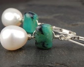 Peruvian opal earrings with white freshwater pearl drops in sterling silver