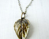 Oxidized Sterling Silver Necklace with Green Leaf Pendant