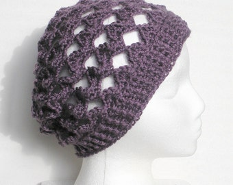SALE, Slouchy Crochet Tam Beanie Hat in Lacy Lavender, ready to ship.