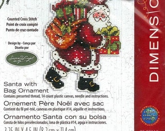 Dimensions - Santa with Bag Ornament 70-08912, Christmas Counted Cross Stitch Kit - Susan Winget design