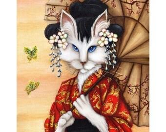 Japanese Cat Art, Blue Eyed White Cat Wearing Red Kimono, 5x7 Fine Art Print