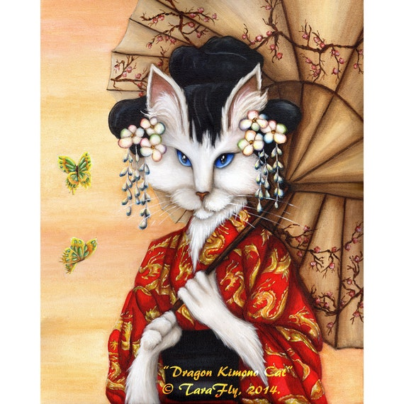 White Cat Wearing Red Kimono 5x7 Fine Art Print