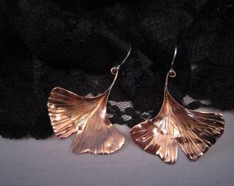 Lg sculpted long Stemmed Ginkgo Leaf Earrings