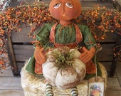 Primitive FokArt Fall Harvest Autumn Pumpkin Art Doll & Grungy White Pumpkin ofg hafair ab4b