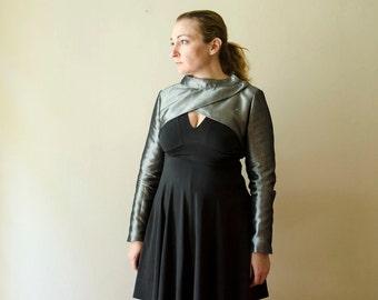 Silver Denim Modern Bolero, Futuristic Cropped Jacket, Evening Silver Black Shrug