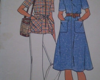 Vintage 1970s - 4265 BUTTERICK PATTERN 1970s Women Dress Top Pants Belt Size 20.5