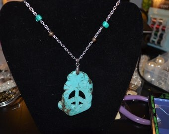 Turquoise Blue PEACE NECKLACE