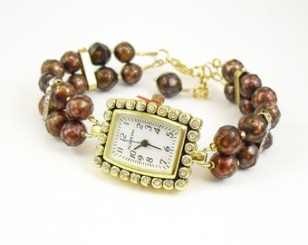 Faceted Chocolate Freshwater Pearl and Swarovski Crystal Bracelet Watch with Rhinestone Studded Gold Watch Face