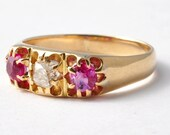 Ruby and Diamond Ring: Victorian 18K Gold, Size 7.25