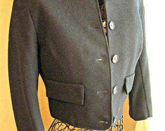 Ladies vintage shortie jacket,  1960's, 60's. navy blue, 3/4 sleeve, lined,  X-small - small. Classic, versatile.