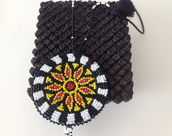 BLACK and WHITE Beaded MEDALLION Necklace
